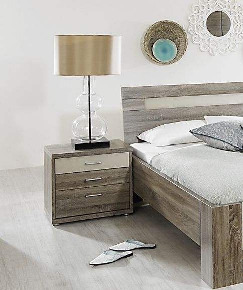 Rauch Plus 2 Havana Oak 2 Drawer with Top Cream White Glass Drawer Bedside Cabinet