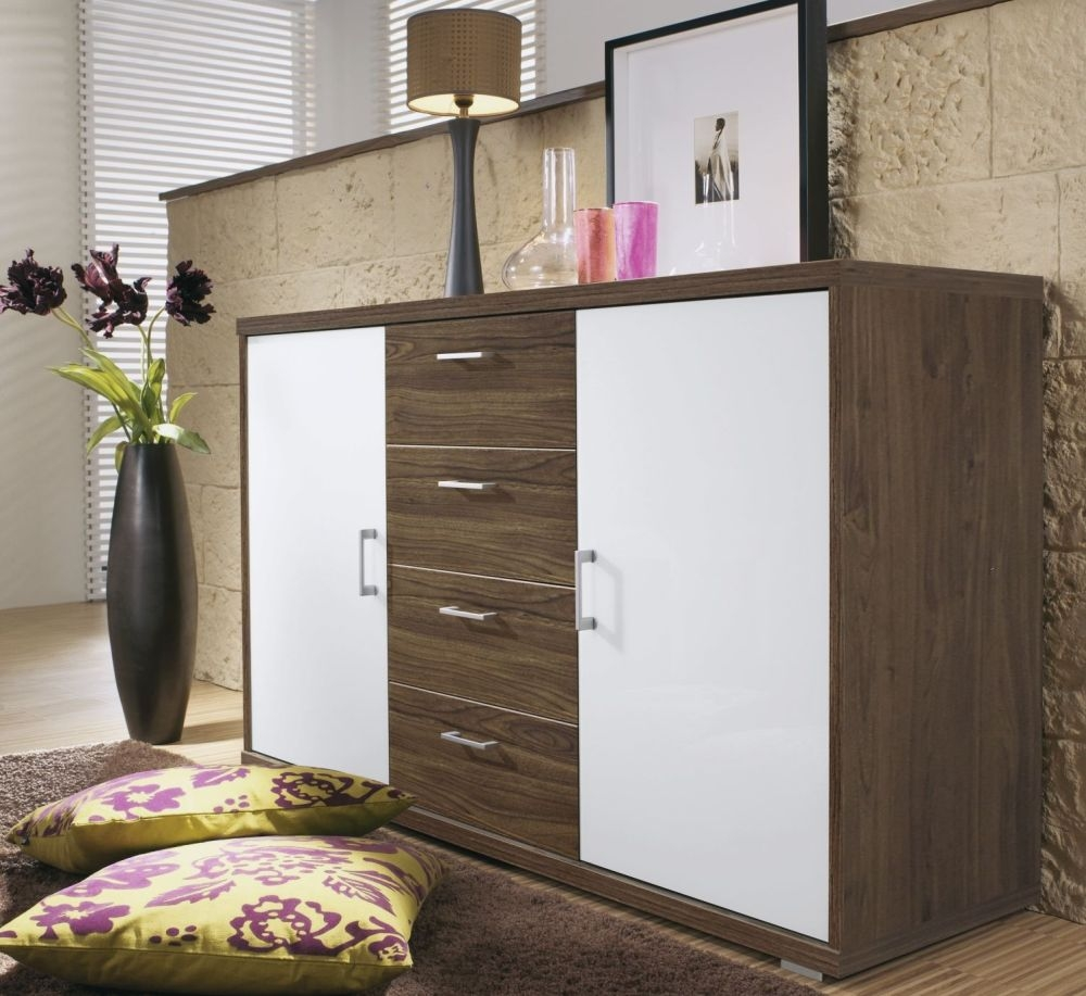 Rauch Plus 2 Royal Walnut 2 Door Cupboard with Crystal White Glass