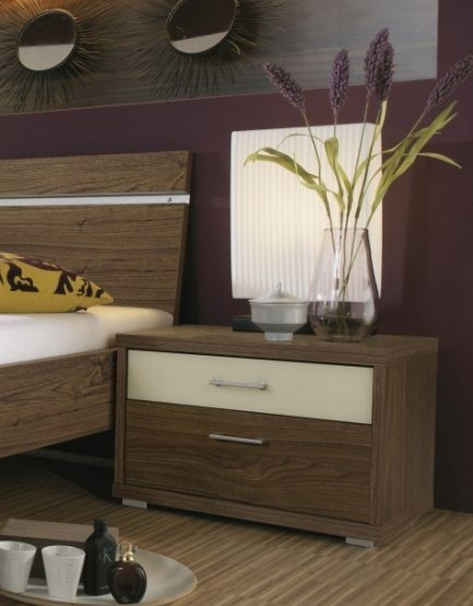 Rauch Plus 2 Royal Walnut 3 Drawer with Top Cream White Glass Drawer Bedside Cabinet