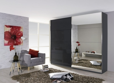 Rauch Quadra 2 Door Mirror Sliding Wardrobe in Grey and Black Glass - W 271cm