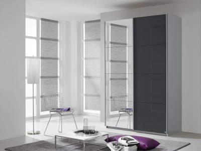 Rauch Quadra 2 Door Mirror Sliding Wardrobe in Silk Grey and Basalt Glass - W 136cm