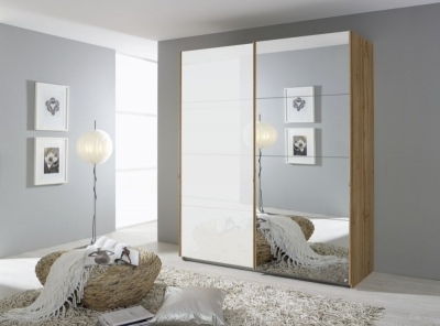 Rauch Quadra 2 Door Mirror Sliding Wardrobe in Wotan Oak and White Glass - W 181cm