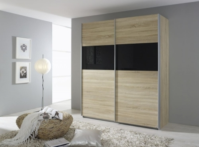 Rauch Quadra 2 Door Sliding Wardrobe in Oak and Black Glass - W 181cm