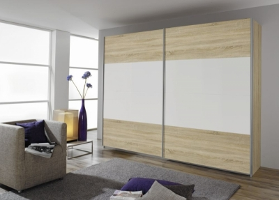 Rauch Quadra 2 Door Sliding Wardrobe in Oak and White - W 271cm