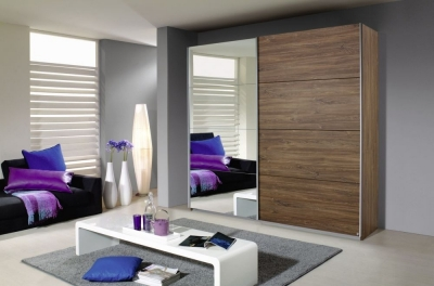 Rauch Quadra 2 Door Mirror Sliding Wardrobe in Oak - W 226cm