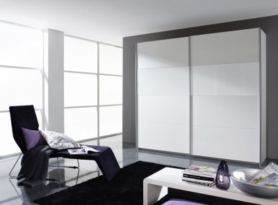 Rauch Quadra 2 Door Sliding Wardrobe in Silk Grey and White Glass - W 226cm