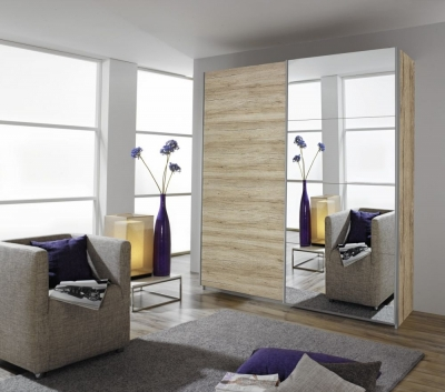 Rauch Quadra 2 Door Mirror Sliding Wardrobe in Sonoma Oak- W 181cm