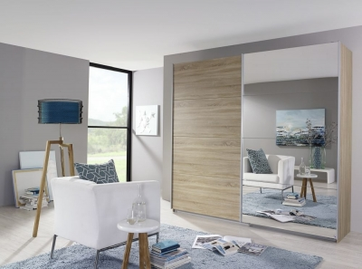 Rauch Quadra 2 Door Mirror Sliding Wardrobe in Sonoma Oak - W 226cm
