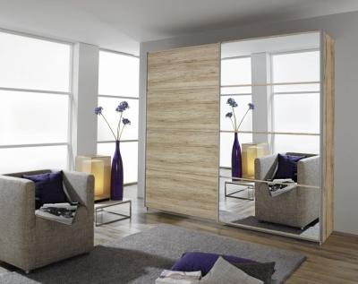 Rauch Quadra 2 Door Mirror Sliding Wardrobe in Sonoma Oak - W 271cm