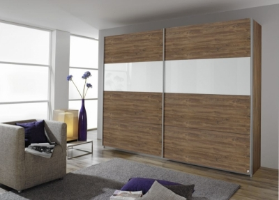 Rauch Quadra 2 Door Sliding Wardrobe in Stirling Oak and White Glass - W 271cm