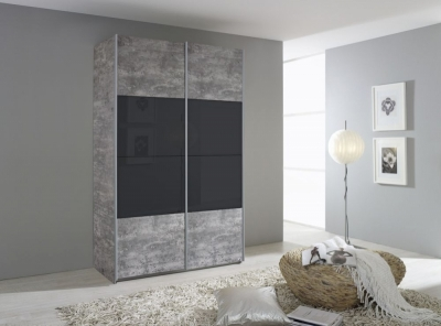 Rauch Quadra 2 Door Sliding Wardrobe in Stone Grey and Basalt Glass - W 136cm