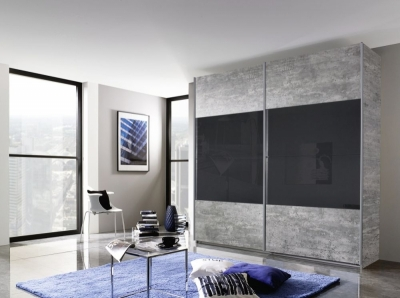 Rauch Quadra 2 Door Sliding Wardrobe in Stone Grey and Basalt Glass - W 226cm
