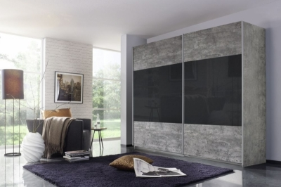 Rauch Quadra 2 Door Sliding Wardrobe in Stone Grey and Basalt Glass - W 271cm