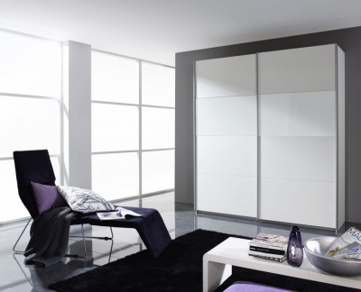 Rauch Quadra 2 Door Sliding Wardrobe in White Glass - W 181cm