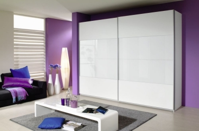 Rauch Quadra 2 Door Sliding Wardrobe in White Glass - W 271cm