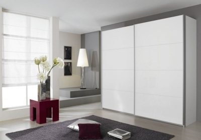 Rauch Quadra 2 Door Sliding Wardrobe in White - W 226cm