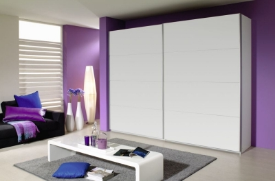 Rauch Quadra 2 Door Sliding Wardrobe in White - W 271cm
