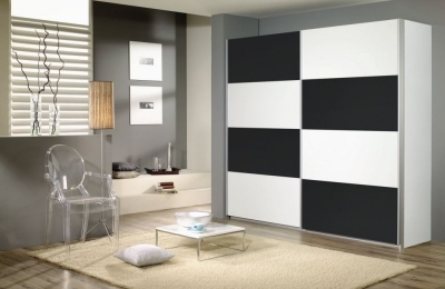 Rauch Quadra 2 Door Sliding Wardrobe in White and Metallic Grey - W 226cm