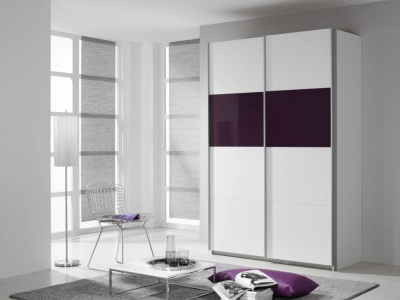 Rauch Quadra 2 Door Sliding Wardrobe in White and Blackberry Glass - W 136cm
