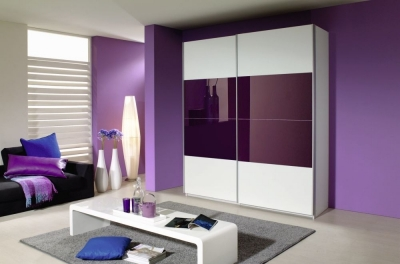 Rauch Quadra 2 Door Sliding Wardrobe in White and Blackberry Glass - W 181cm