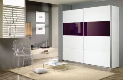 Rauch Quadra 2 Door Sliding Wardrobe in White and Blackberry Glass - W 226cm