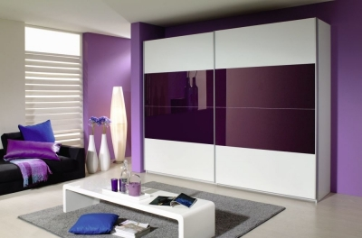 Rauch Quadra 2 Door Sliding Wardrobe in White and Blackberry Glass - W 271cm