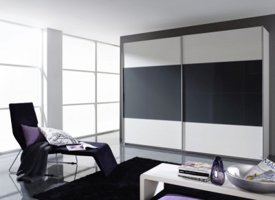 Rauch Quadra 2 Door Sliding Wardrobe in White and Dark Grey - W 271cm