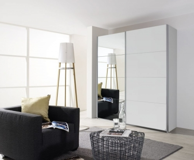 Rauch Quadra 2 Door Mirror Sliding Wardrobe in White - W 181cm