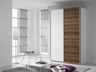 Rauch Quadra 2 Door Sliding Wardrobe in White and Oak - W 136cm