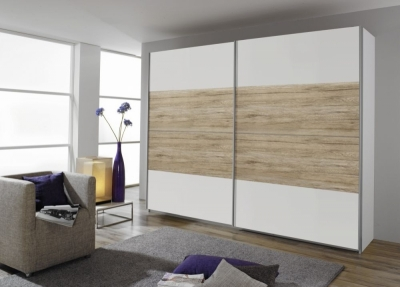 Rauch Quadra 2 Door Sliding Wardrobe in White and Oak - W 271cm
