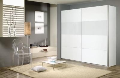 Rauch Quadra 2 Door Sliding Wardrobe in White and Silk Grey Glass - W 226cm