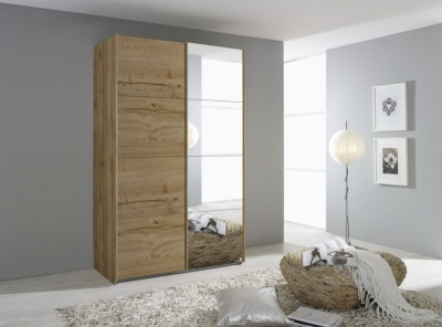 Rauch Quadra 2 Door Mirror Sliding Wardrobe in Wotan Oak - W 136cm