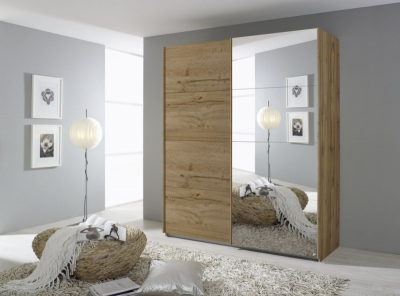 Rauch Quadra 2 Door Mirror Sliding Wardrobe in Wotan Oak - W 181cm