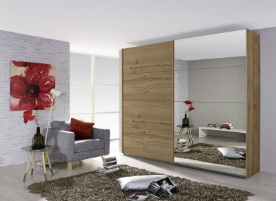 Rauch Quadra 2 Door Mirror Sliding Wardrobe in Wotan Oak - W 271cm