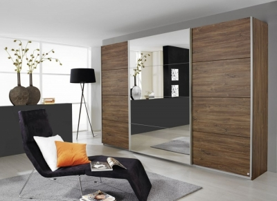 Rauch Quadra 3 Door Mirror Sliding Wardrobe in Stirling Oak - W 315cm