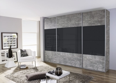 Rauch Quadra 3 Door Sliding Wardrobe in Stone Grey and Basalt Glass - W 315cm