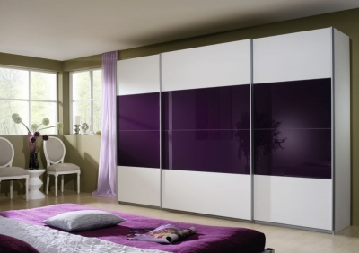 Rauch Quadra 3 Door Sliding Wardrobe in White and Blackberry Glass - W 315cm