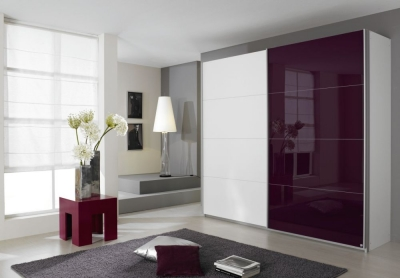 Rauch Quadra Sliding Wardrobe with Glass and Decor Front