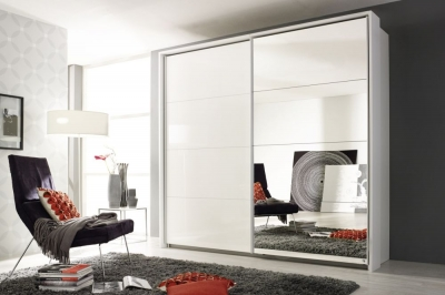 Rauch Quadra Sliding Wardrobe with High Polish and Mirror Front