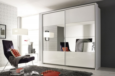 Rauch Quadra Sliding Wardrobe with High Polish and Part Mirror Front
