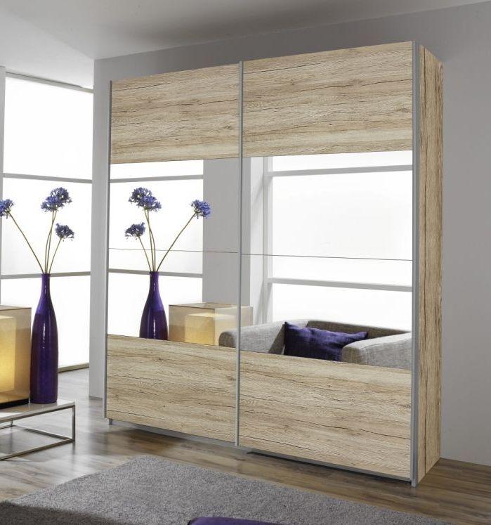 Product photograph showing Rauch Quadra 2 Door 1 Mirror Sliding Wardrobe In Oak - W 181cm H 229cm