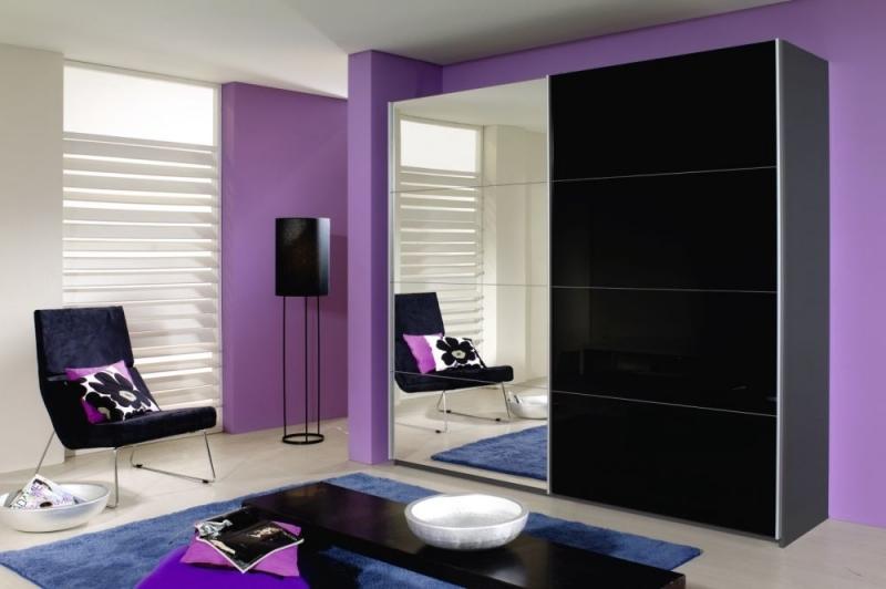 Rauch Quadra 2 Door Mirror Sliding Wardrobe in Grey and Black Glass - W 226cm