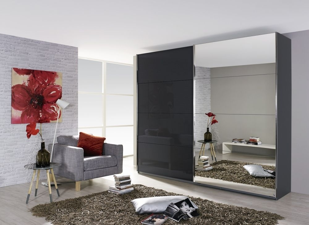 Rauch Quadra 2 Door Mirror Sliding Wardrobe in Grey and Black Glass - W 271cm