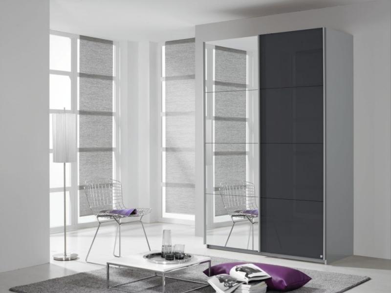 Rauch Quadra 2 Door Mirror Sliding Wardrobe in Silk Grey and Basalt Glass - W 136cm