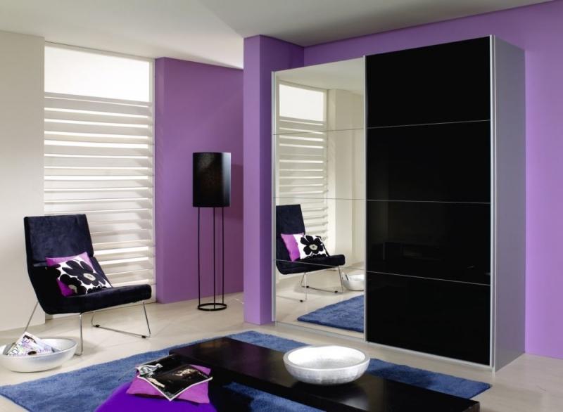 Rauch Quadra 2 Door Mirror Sliding Wardrobe in Silk Grey and Black Glass - W 181cm