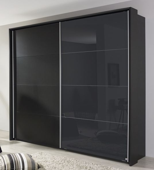 Product photograph showing Rauch Quadra 2 Door Sliding Wardrobe In Metallic Grey - W 226cm H 229cm