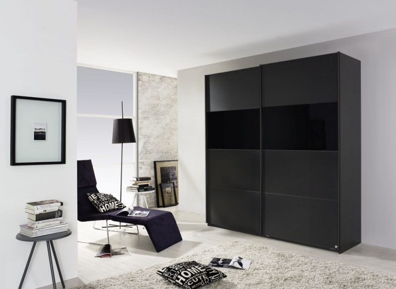 Rauch Quadra 2 Door Sliding Wardrobe in Metallic Grey and Black Glass - W 181cm