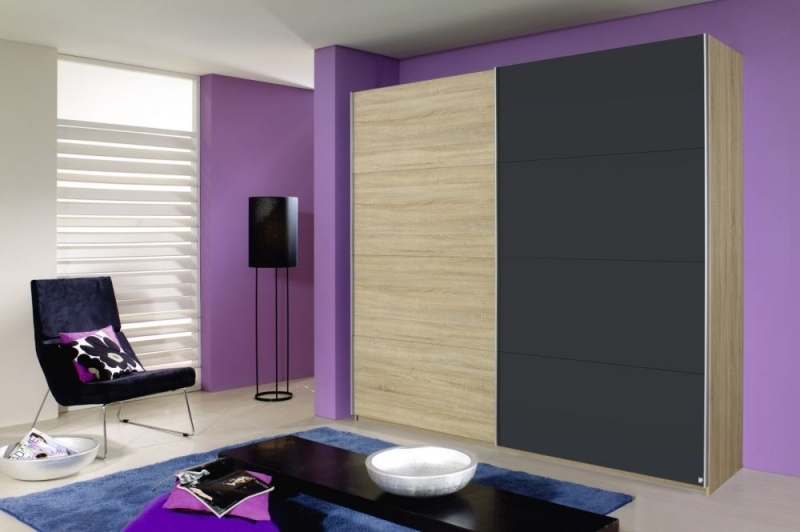 Rauch Quadra 2 Door Sliding Wardrobe in Oak and Metallic Grey - W 226cm