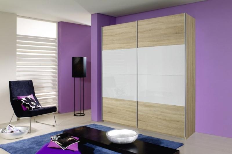 Rauch Quadra 2 Door Sliding Wardrobe in Oak and White Glass - W 181cm