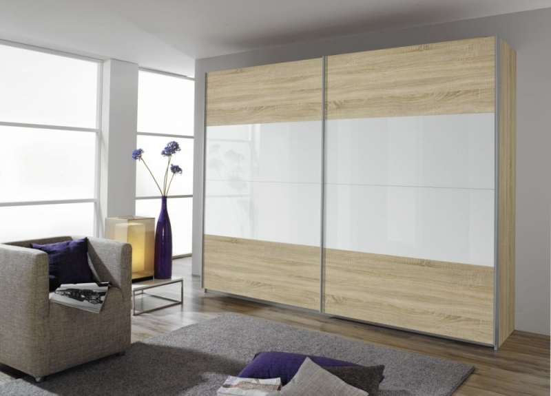 Rauch Quadra 2 Door Sliding Wardrobe in Oak and White Glass - W 271cm